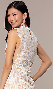Image of short high-neck lace graduation party dress. Style: AC-DS24755B Detail Image 2