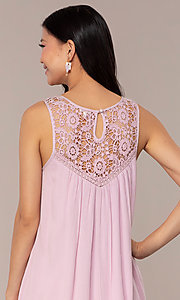 Image of short casual shift purple party dress. Style: AC-ED14323VL Detail Image 2