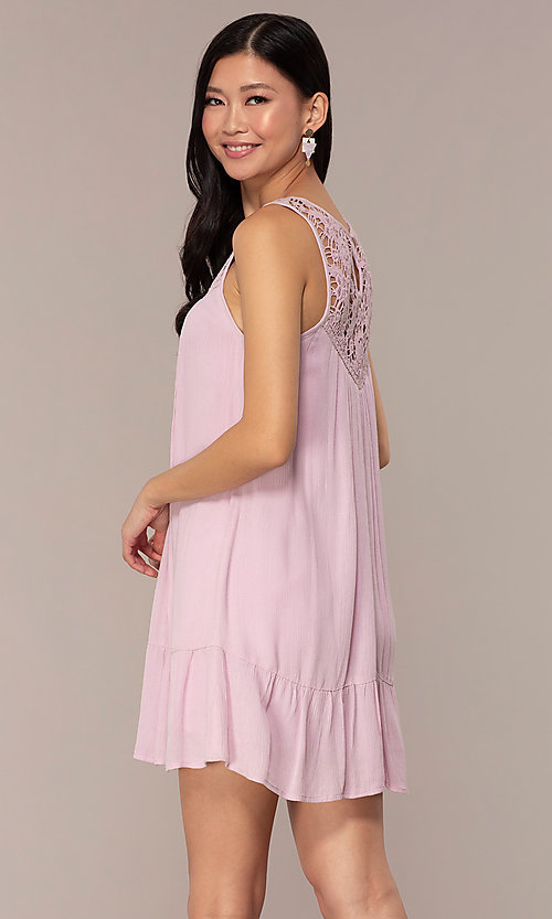 Image of short casual shift purple party dress. Style: AC-ED14323VL Back Image