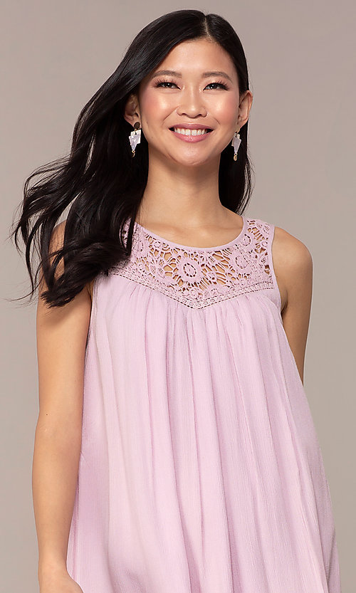 Image of short casual shift purple party dress. Style: AC-ED14323VL Detail Image 1