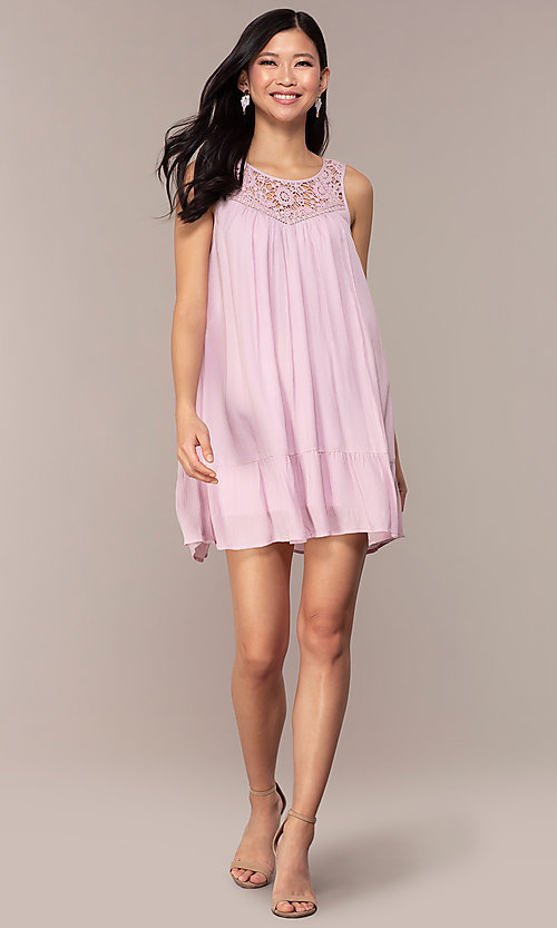 Image of short casual shift purple party dress. Style: AC-ED14323VL Detail Image 3