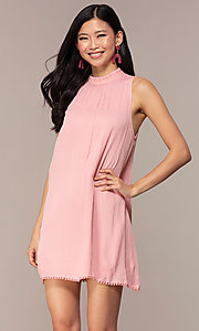 Image of short high-neck shift graduation pink party dress. Style: AC-ED14431WL Front Image