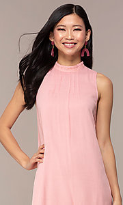 Image of short high-neck shift graduation pink party dress. Style: AC-ED14431WL Detail Image 1
