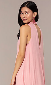 Image of short high-neck shift graduation pink party dress. Style: AC-ED14431WL Detail Image 2