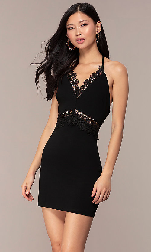 Image of little black v-neck wedding-guest party dress. Style: AC-ED15957EH Front Image