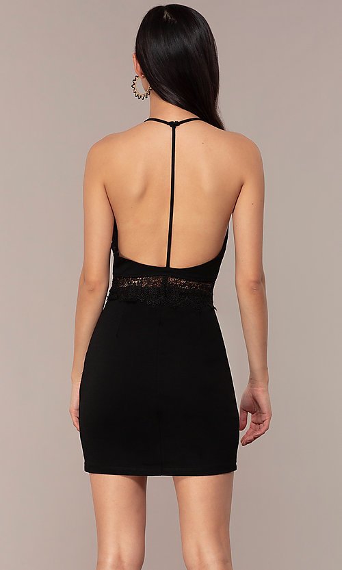Image of little black v-neck wedding-guest party dress. Style: AC-ED15957EH Back Image