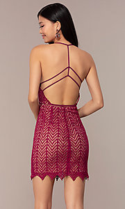 Image of short chevron-lace v-neck strappy-back party dress. Style: AC-ED15960EH Back Image