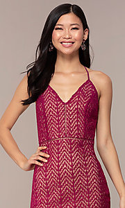 Image of short chevron-lace v-neck strappy-back party dress. Style: AC-ED15960EH Detail Image 1