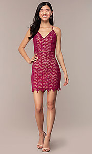 Image of short chevron-lace v-neck strappy-back party dress. Style: AC-ED15960EH Detail Image 3