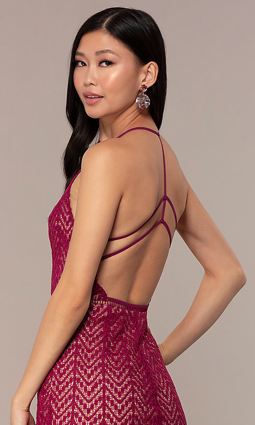 Image of short chevron-lace v-neck strappy-back party dress. Style: AC-ED15960EH Detail Image 2
