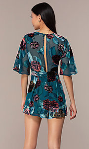Image of teal floral-print party romper for wedding guests. Style: AC-ERF60641TL Back Image