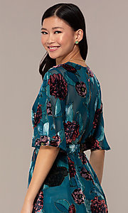 Image of teal floral-print party romper for wedding guests. Style: AC-ERF60641TL Detail Image 2