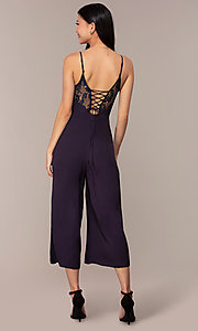 Image of cropped-leg lace-trimmed v-neck jumpsuit for parties. Style: AC-NA73884A Back Image