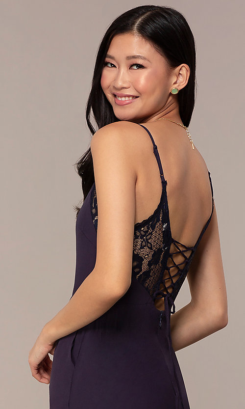 Image of cropped-leg lace-trimmed v-neck jumpsuit for parties. Style: AC-NA73884A Detail Image 2