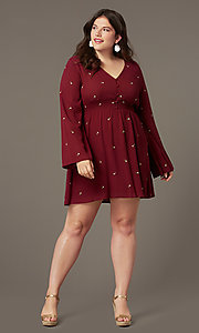 Image of short plus-size empire-waist party dress. Style: AC-EDS15800EYP Front Image