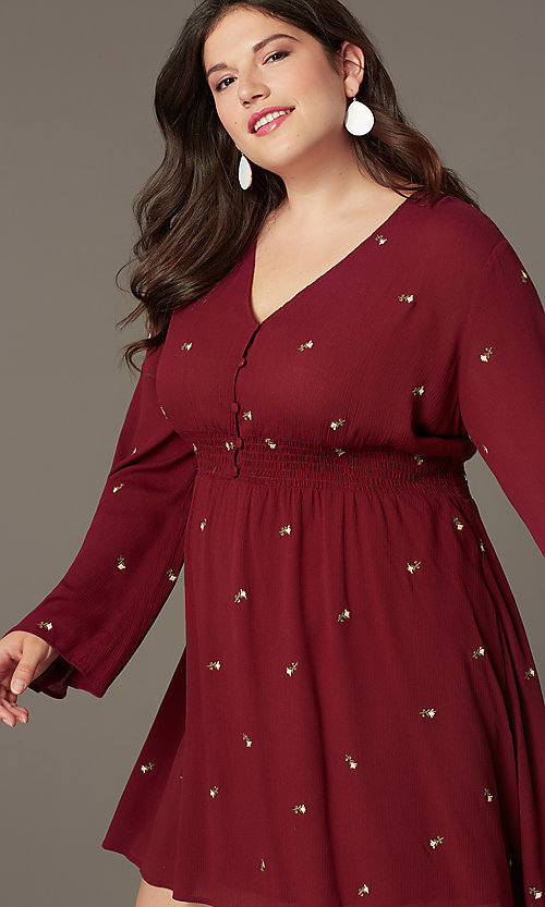 Image of short plus-size empire-waist party dress. Style: AC-EDS15800EYP Detail Image 1
