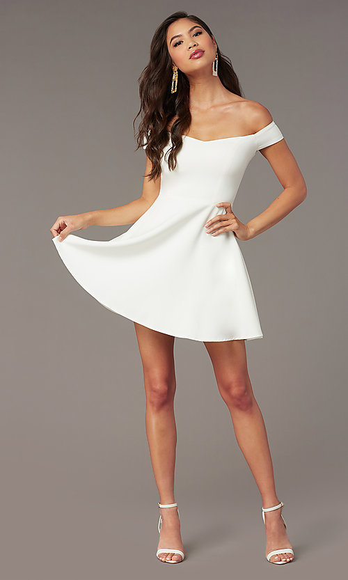 Image of short off-the-shoulder grad dress by Kalani Hilliker. Style: SJP-KHG100 Detail Image 1