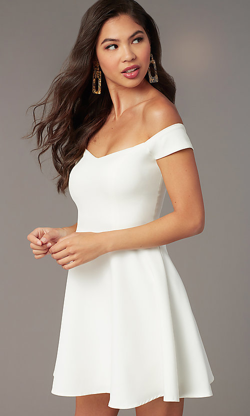 Image of short off-the-shoulder grad dress by Kalani Hilliker. Style: SJP-KHG100 Detail Image 2