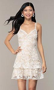 Image of v-neck short lace grad dress by Kalani Hilliker Style: SJP-KHG101 Detail Image 1