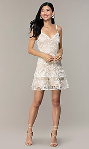 Image of v-neck short lace grad dress by Kalani Hilliker Style: SJP-KHG101 Detail Image 4
