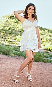 Image of v-neck short lace grad dress by Kalani Hilliker Style: SJP-KHG101 Front Image