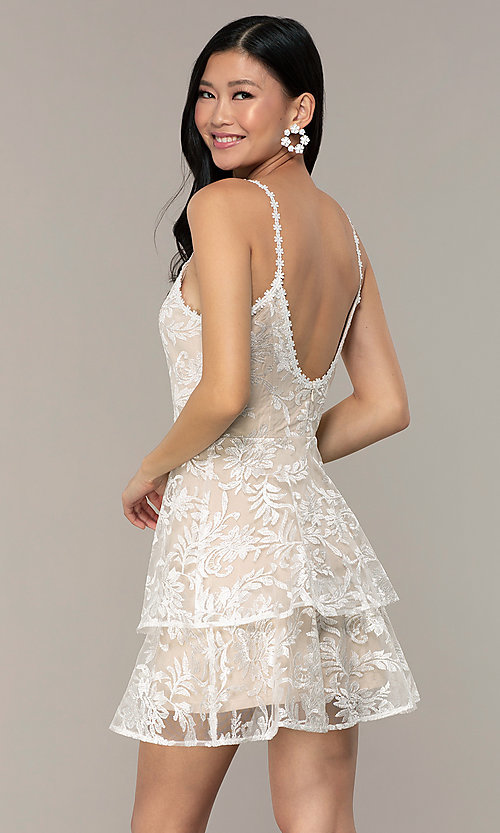 Image of v-neck short lace grad dress by Kalani Hilliker Style: SJP-KHG101 Back Image