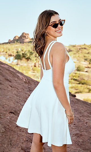 Short Ivory Graduation Dress by Kalani Hilliker