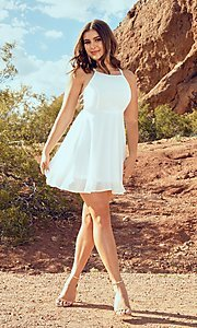 Image of short open-caged-back graduation party dress. Style: SJP-KHG104 Front Image