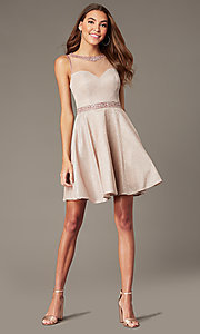 Image of metallic-knit short homecoming dress in blush pink. Style: SOI-W18781 Detail Image 1