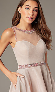 Image of metallic-knit short homecoming dress in blush pink. Style: SOI-W18781 Detail Image 2
