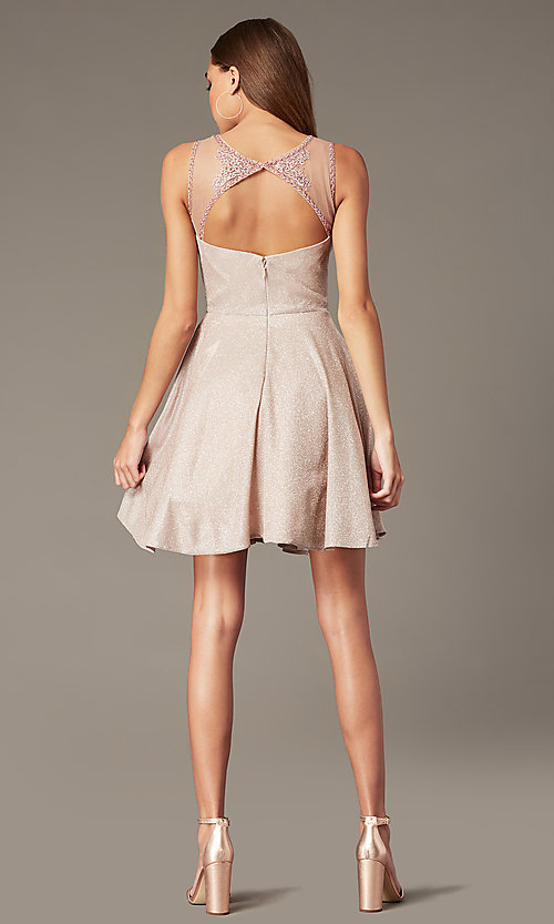 Image of metallic-knit short homecoming dress in blush pink. Style: SOI-W18781 Back Image