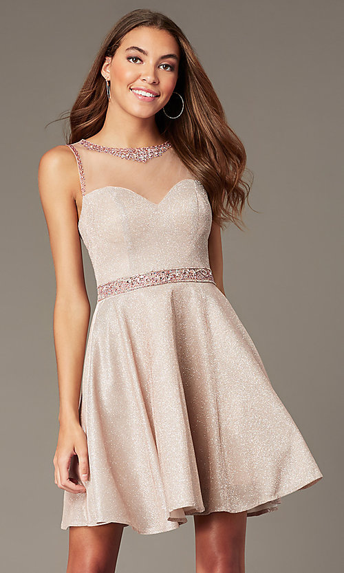 Image of metallic-knit short homecoming dress in blush pink. Style: SOI-W18781 Front Image