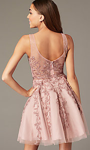 Image of beaded short embroidered-tulle homecoming dress. Style: SOI-W18784 Back Image
