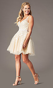 Image of beaded short embroidered-tulle homecoming dress. Style: SOI-W18784 Detail Image 4