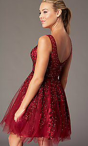 Image of beaded short embroidered-tulle homecoming dress. Style: SOI-W18784 Detail Image 8