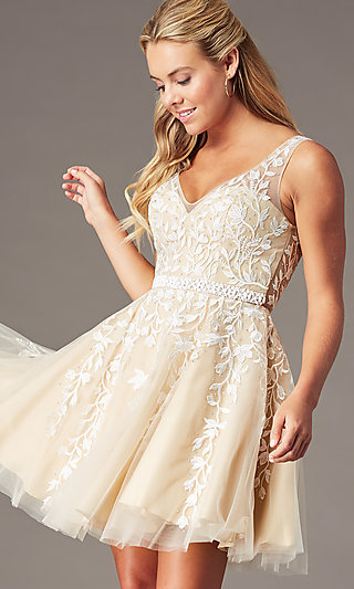 Beaded Short Embroidered-Tulle Homecoming Dress