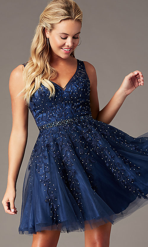 Image of beaded short embroidered-tulle homecoming dress. Style: SOI-W18784 Detail Image 5
