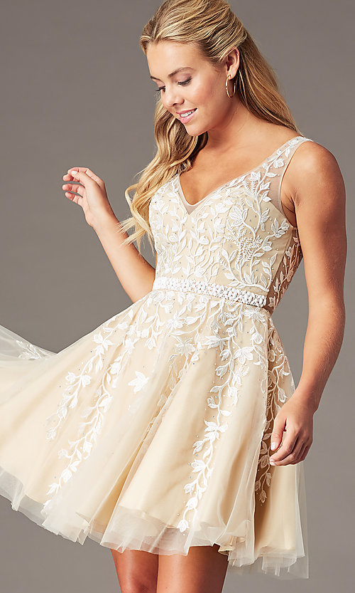Image of beaded short embroidered-tulle homecoming dress. Style: SOI-W18784 Detail Image 3