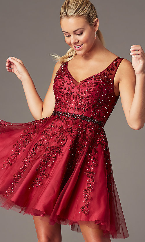 Image of beaded short embroidered-tulle homecoming dress. Style: SOI-W18784 Detail Image 7