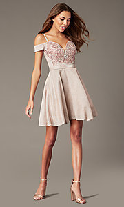 Image of beaded-bodice sparkly short homecoming party dress. Style: SOI-W18780 Front Image