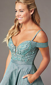 Image of beaded-bodice sparkly short homecoming party dress. Style: SOI-W18780 Detail Image 4