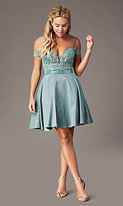 Image of beaded-bodice sparkly short homecoming party dress. Style: SOI-W18780 Detail Image 5