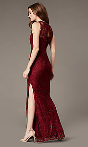 Image of plum red lace long formal dress with side slit. Style: SOI-M18705 Back Image
