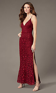 Image of long plum red lace formal dress with side slit. Style: SOI-M18721 Front Image