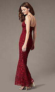 Image of long plum red lace formal dress with side slit. Style: SOI-M18721 Back Image