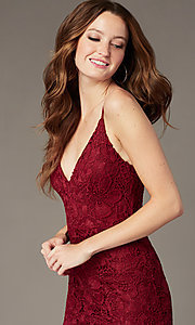 Image of long plum red lace formal dress with side slit. Style: SOI-M18721 Detail Image 1