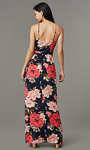 Image of maxi-length floral-print wedding-guest party dress. Style: SOI-M18079-B48 Back Image