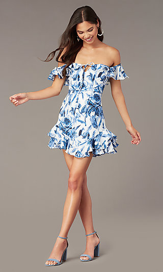 Short Print Off-the-Shoulder Graduation Dress