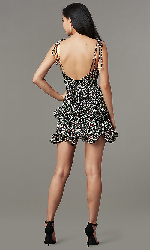 Image of short ruffled open-back black print party dress. Style: LUX-LD5450 Back Image
