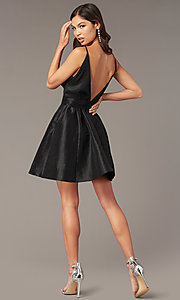 Image of short deep-v-neck knotted-waist a-line hoco dress. Style: LUX-LD5497-B Back Image